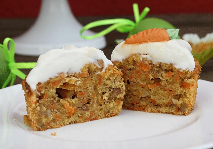Innenansicht der saftigen Karotten Cupcakes