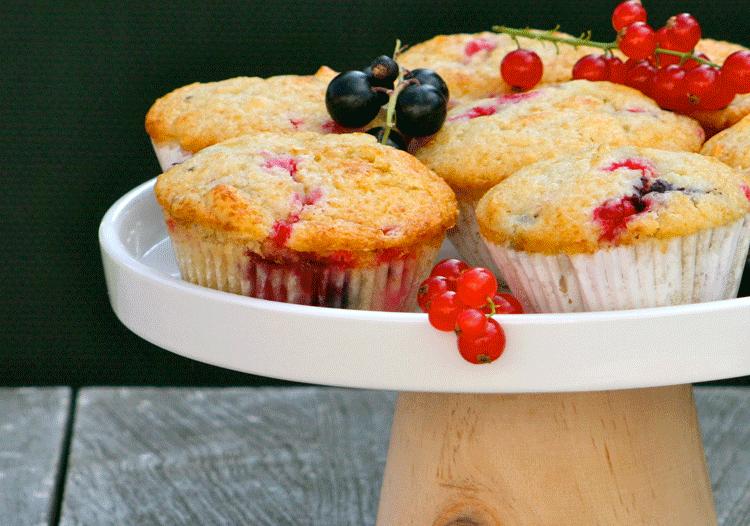 Muffins mit roten und schwarzen Johannisbeeren