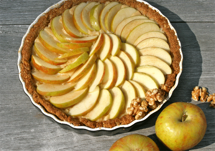 Glutenfreie Walnuss-Apfel-Tarte