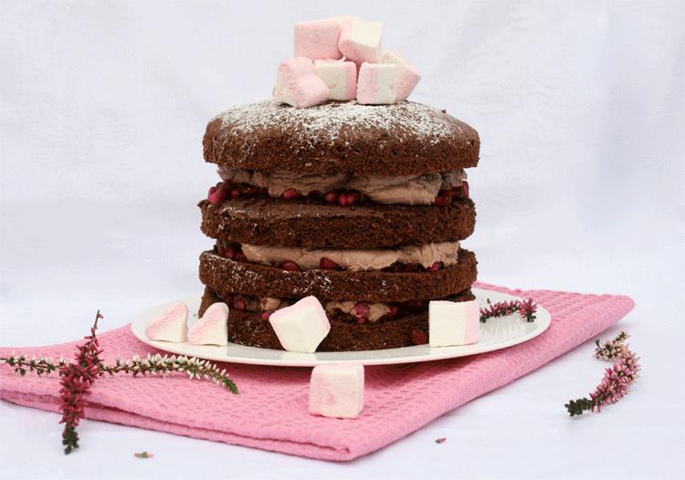 Zimt Granatapfel Torte Mit Marshmallow Herzen Kuchenmomente