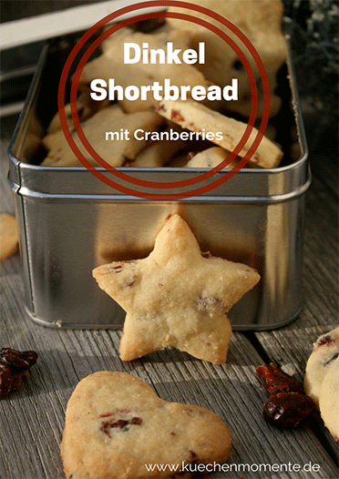 Shortbread mit Cranberries aus Dinkelmehl