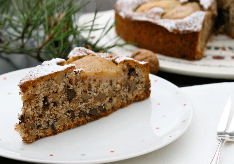 Birnenkuchen Mit Schoko Stucken Und Walnussen Kuchenmomente
