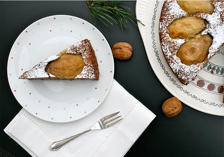 Birnenkuchen mit Walnuss und Schoko