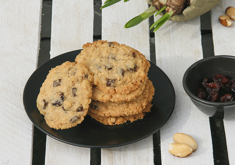 Cookies mit Haferflocken, Paranüssen und soften Cranberries