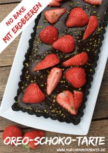 No bake Schokotarte mit Erdbeeren