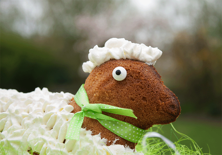 Süßes Osterlamm mit Fell aus Sahne