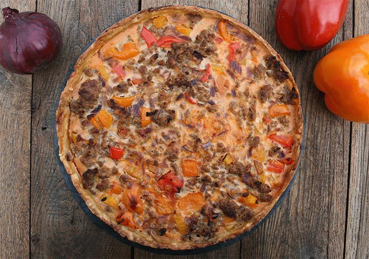 Paprika-Hackfleisch-Kuchen - schmeckt warm und kalt