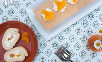 Schnell gemacht und immer lecker - Biskuitrolle mit Quark-Mandarinen-Füllung.