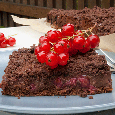Streusel Schokopudding Kuchen Mit Johannisbeeren Kuchenmomente