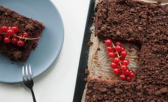 Schoko-Pudding-Kuchen mit Johannisbeeren und Streusel