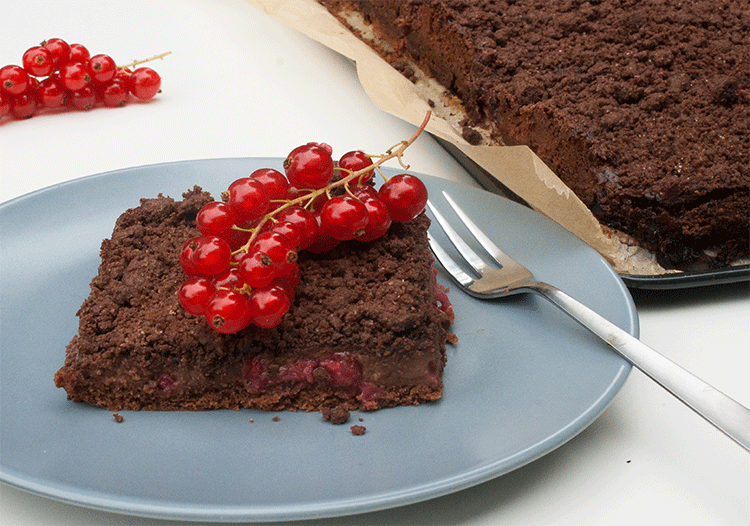 Schokoladenkuchen johannisbeeren