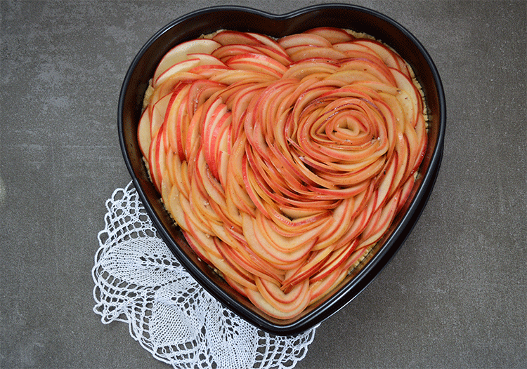 Apfelrosenherz ungebacken
