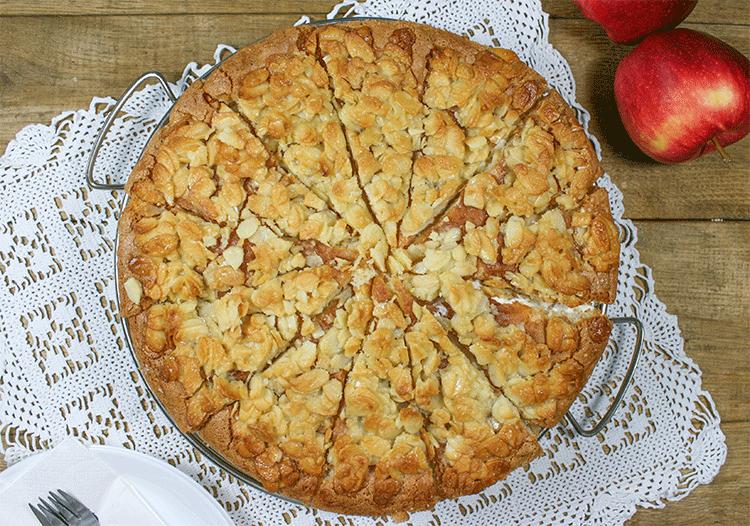 Knackiges Florentiner-Topping Apfelkuchen