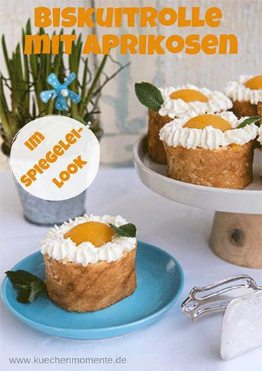 Biskuitrolle mit Aprikose im Spiegelei-Look