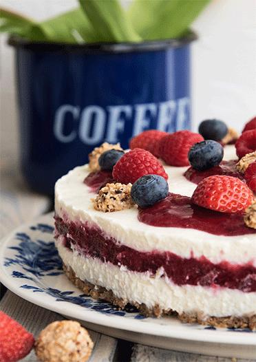 Fruchtige, beerige Torte mit Giotto ohne Backen