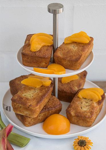 Rhabarber Pfirsich Muffins in der Kastenform