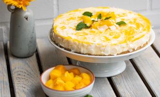 Ohne Backen - fruchtiger Mango Kokos Cheesecake