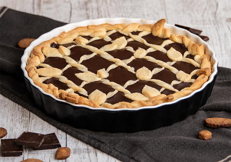 Tarte Crostata Mürbeteigkuchen mit Schokoladenfüllung