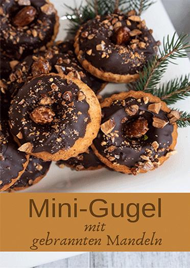 Gugelhupf-Minis mit gebrannten Mandeln und Schokoladenguss