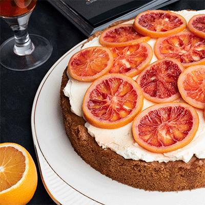 Kuchen a la Aperitivo-Spritz mit Blutorangen