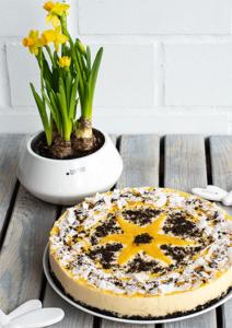 Fruchtige Mango-Joghurt-Torte ohne Backen mit Schokokeksboden