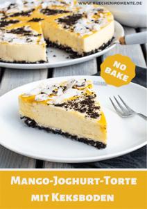 No bake-Torte mit Mango, Joghurt, Kokos und Keksboden