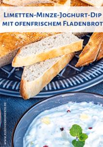 Limetteb-Joghurt-Dip mit Minze und Fladenbrot Pinterestpost