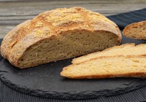 Anschnitt Maisbrot mit Sauerteig ohne Hefe